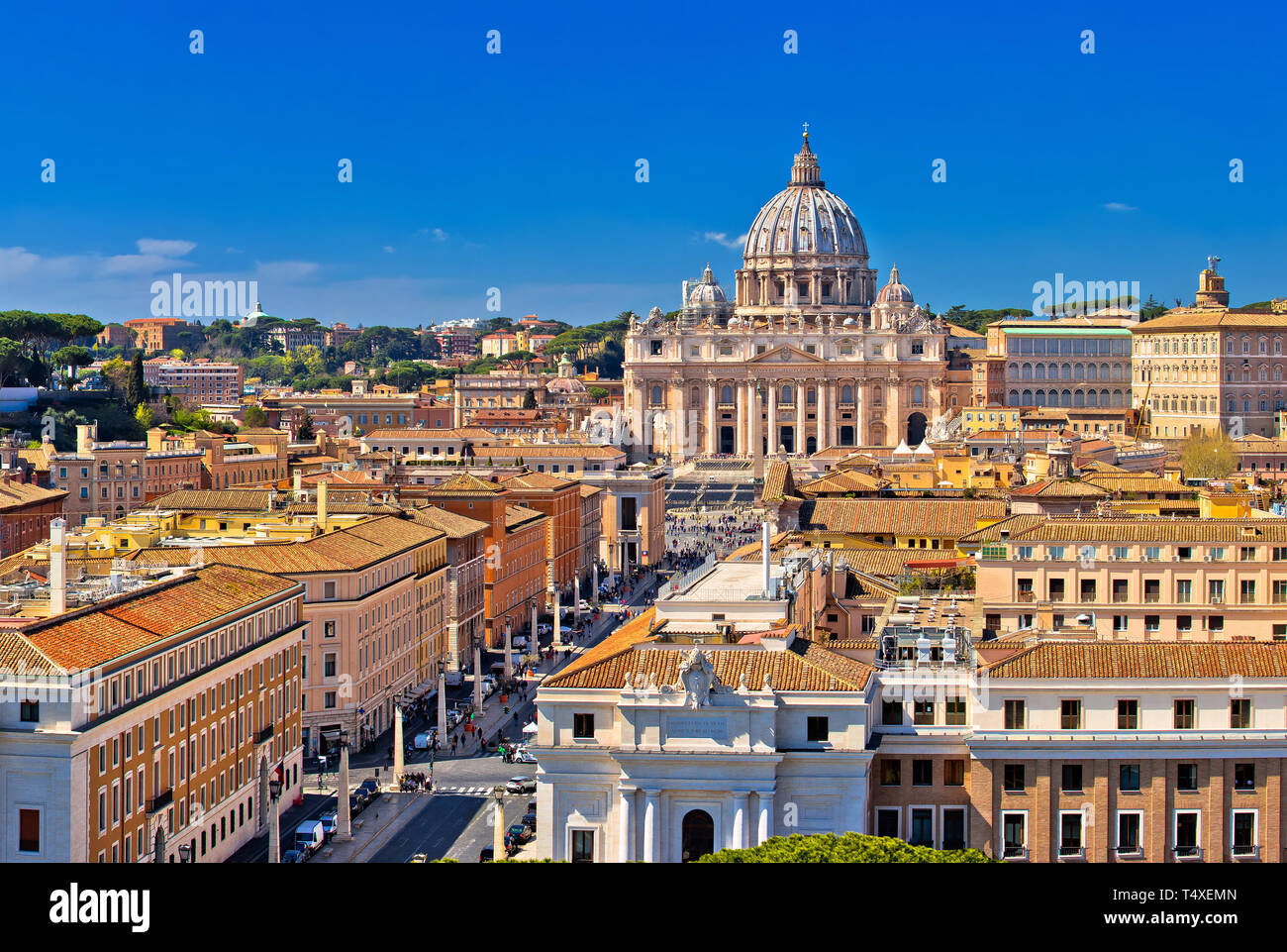 Rome rooftops and Vatican city landmarks panoramic view, capital of Italy - Stock Image