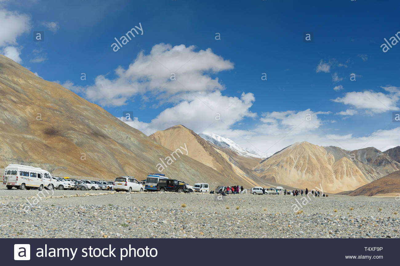 cars parked at peaks base - Stock Image