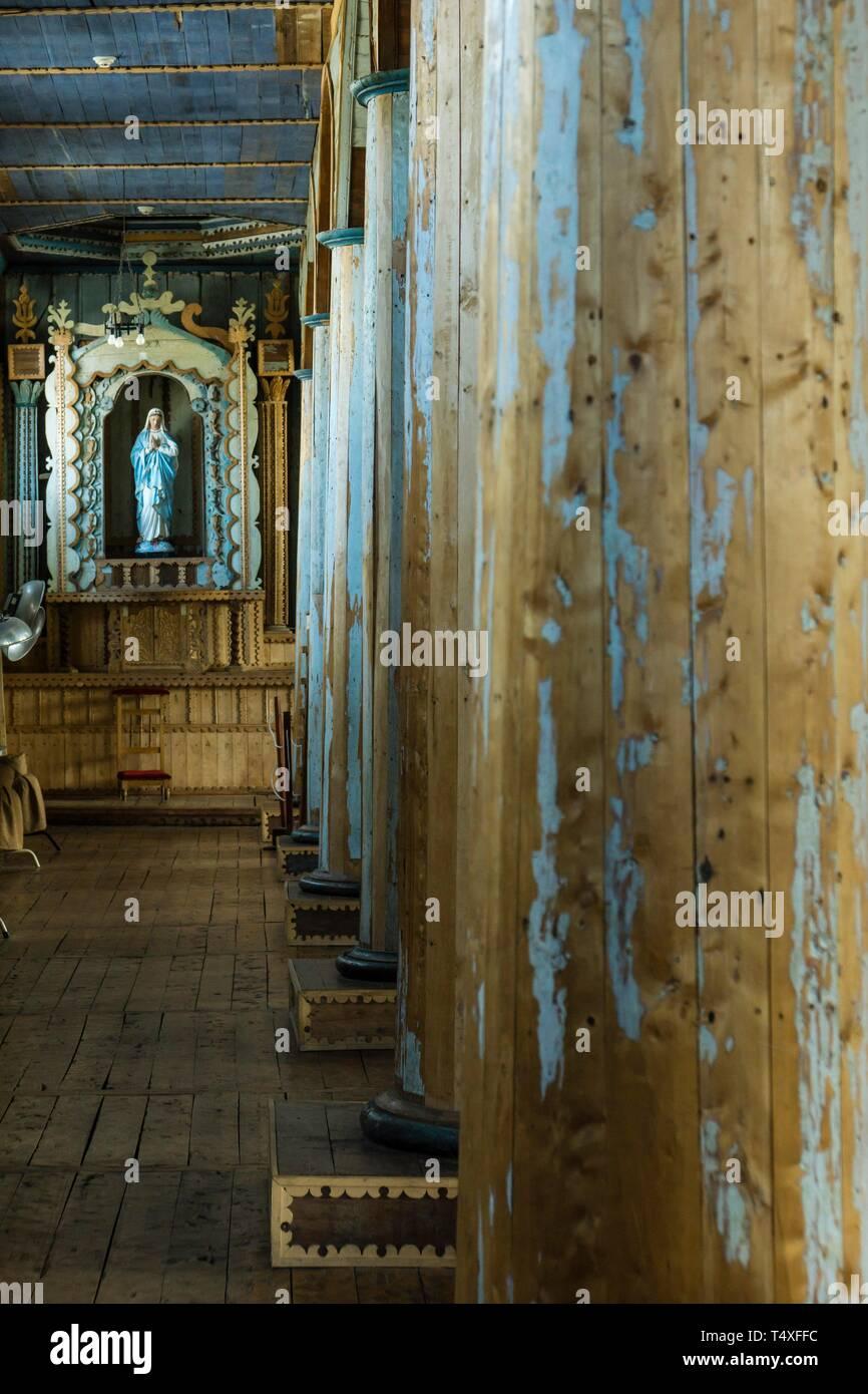 Iglesia Santa María de Loreto ,Achao, 1740, Monumento Nacional de Chile, Patrimonio de la Humanidad por la Unesco, archipiélago de Chiloé ,provincia de Chiloé ,región de Los Lagos,Patagonia, República de Chile,América del Sur. Stock Photo