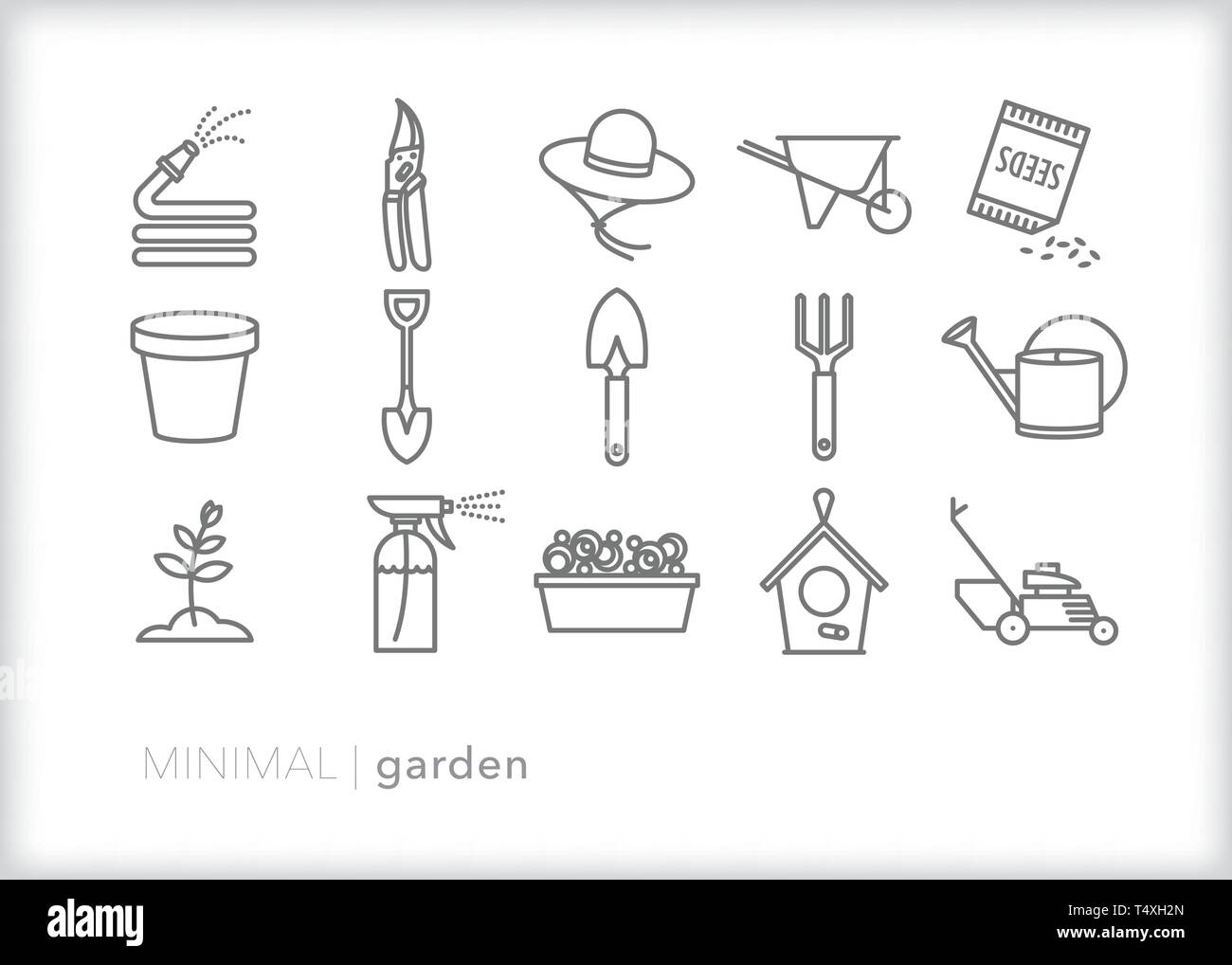 Set of 15 garden line icons for tending to a home garden or lawn including tools, hose, pot, wheelbarrow, flowers, lawn mower and more - Stock Vector