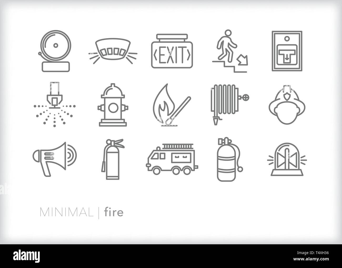 Set of 15 fire safety line icons for businesses and homes including smoke detector, exit sign, alarm, fireman, fire truck, hydrant, and sprinkler - Stock Image