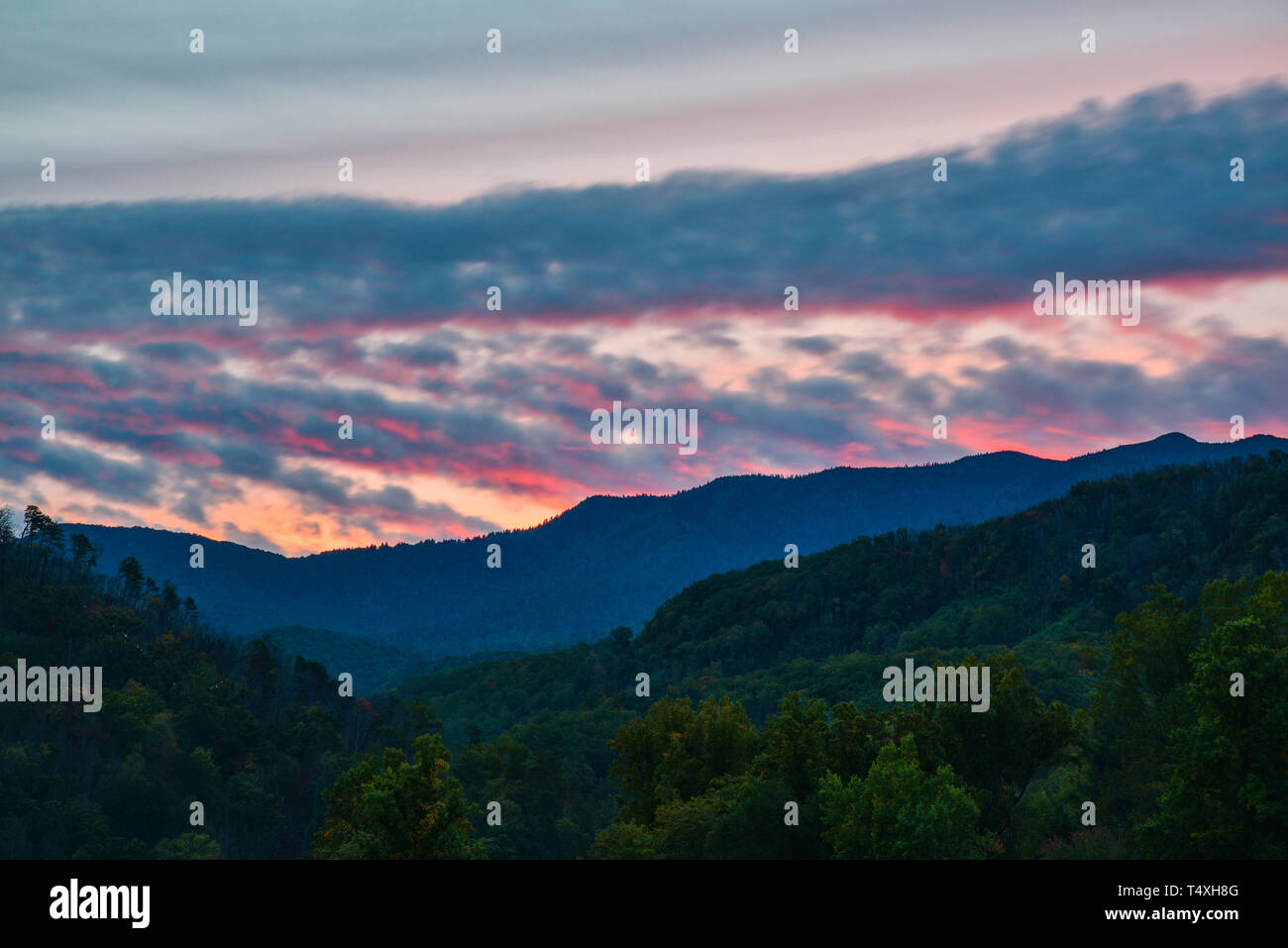 Early morning sunrise from a mountain vista point in the Great Smoky Mountains National Park in autumn, outside Gatlinburg, TN, USA Stock Photo