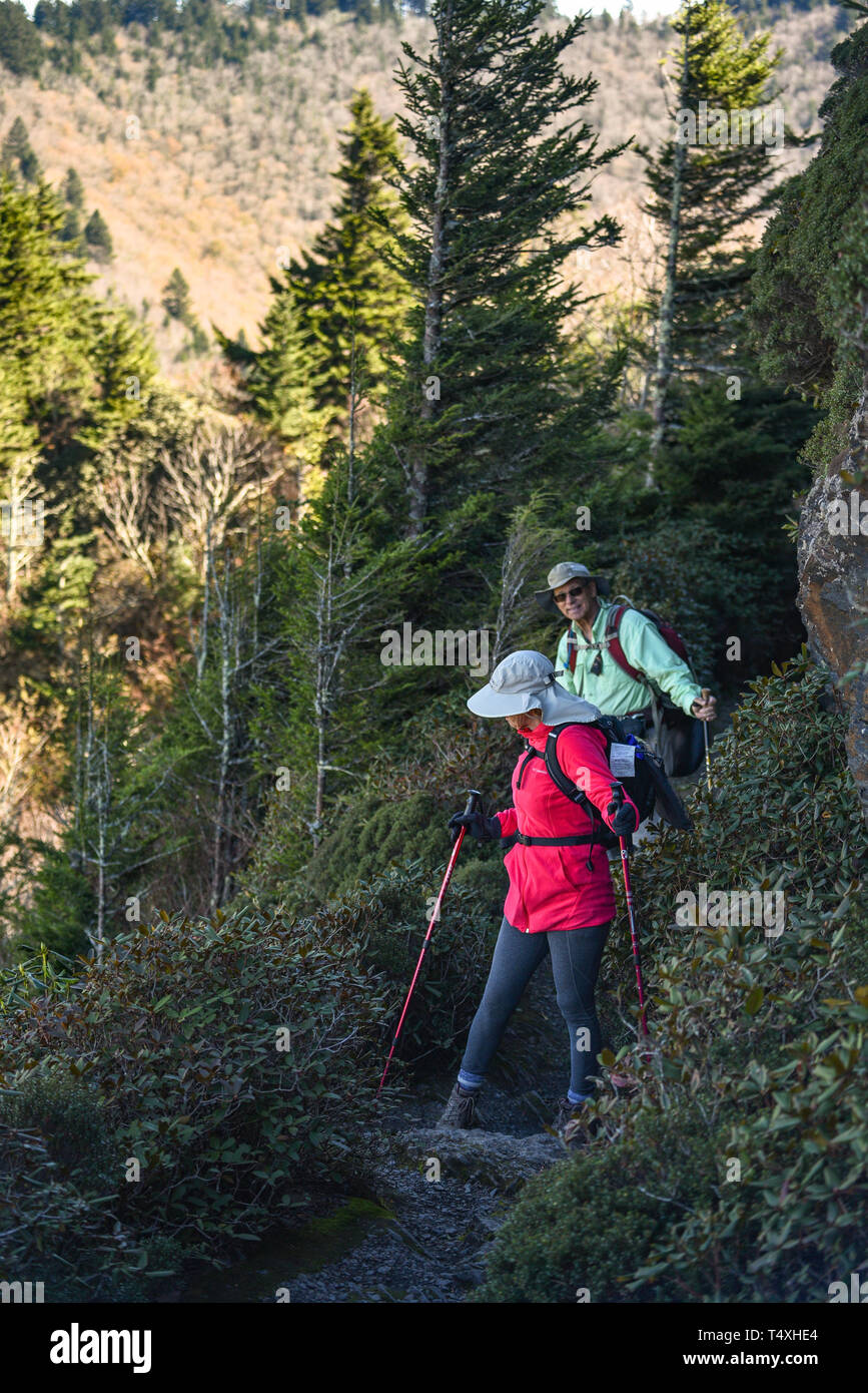 An adult fit elderly couple hiking along narrow trail at Charlies Bunion in Great Smoky Mountains National Park, near Gatlinburg, TN, USA Stock Photo