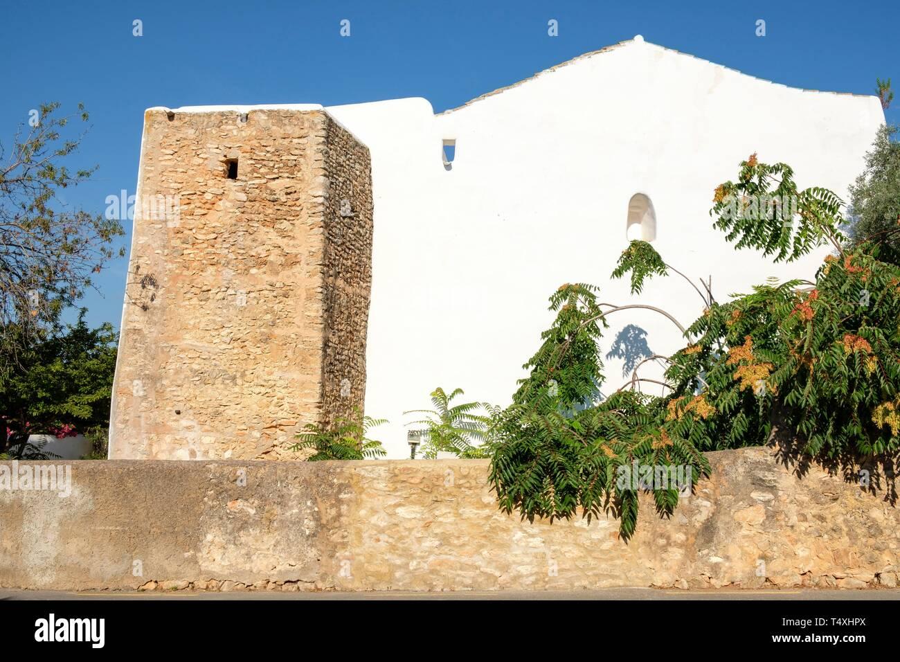iglesia fortificada de Sant Llorenç de Balàfia, 1785, Ibiza, balearic islands, Spain. - Stock Image
