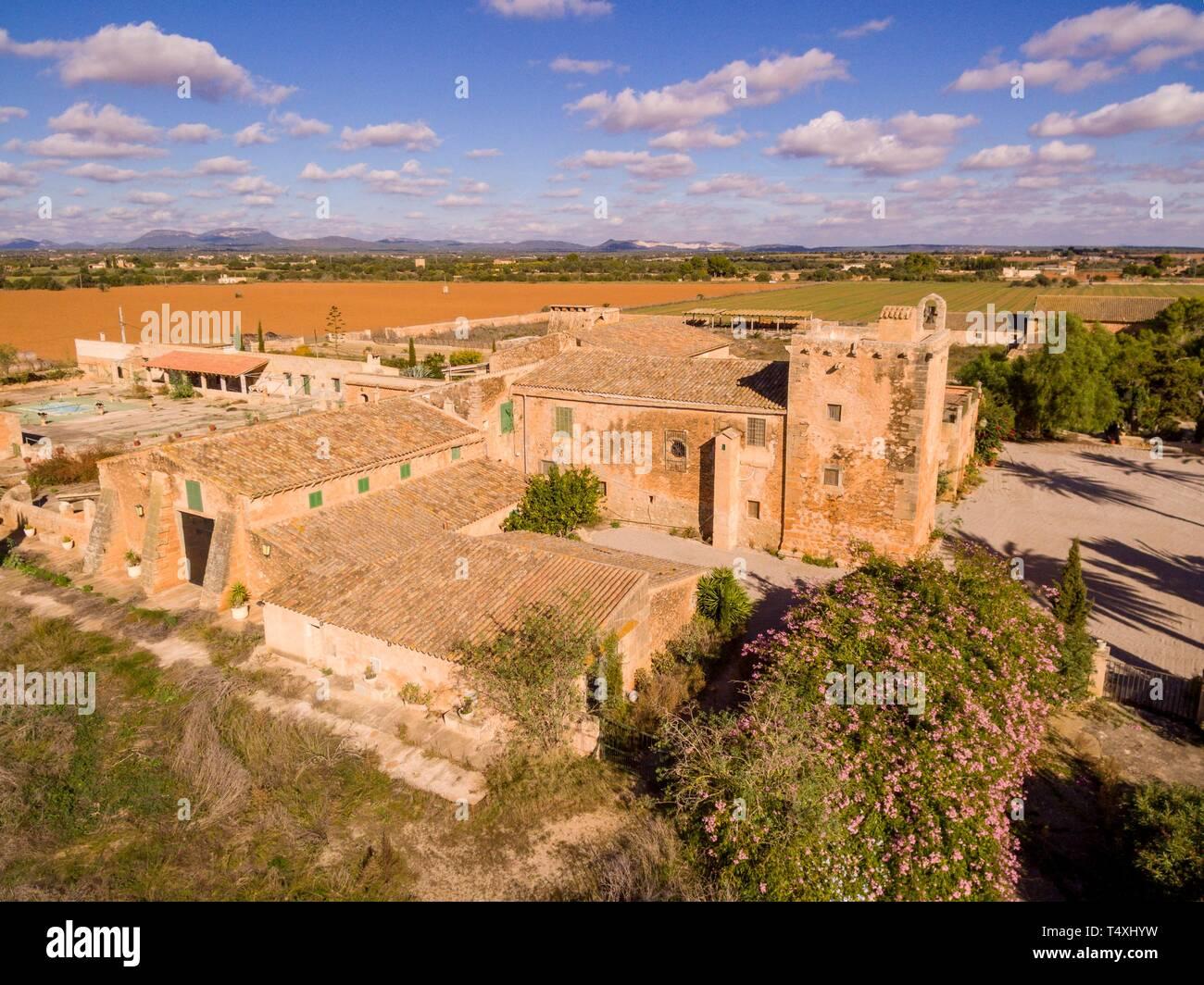 Son Catlar, antigua possessió fortificada, termino de Campos, Mallorca, balearic islands, Spain. - Stock Image