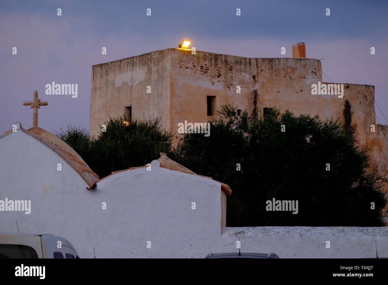 iglesia de Sant Francesc Xavier,ejemplo de iglesia fortificada, siglo XVIII, Formentera, balearic islands, Spain. - Stock Image