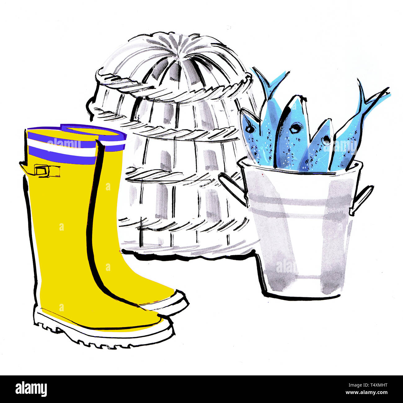 Yellow rubber boots and bucket of freshly caught fish - Stock Image