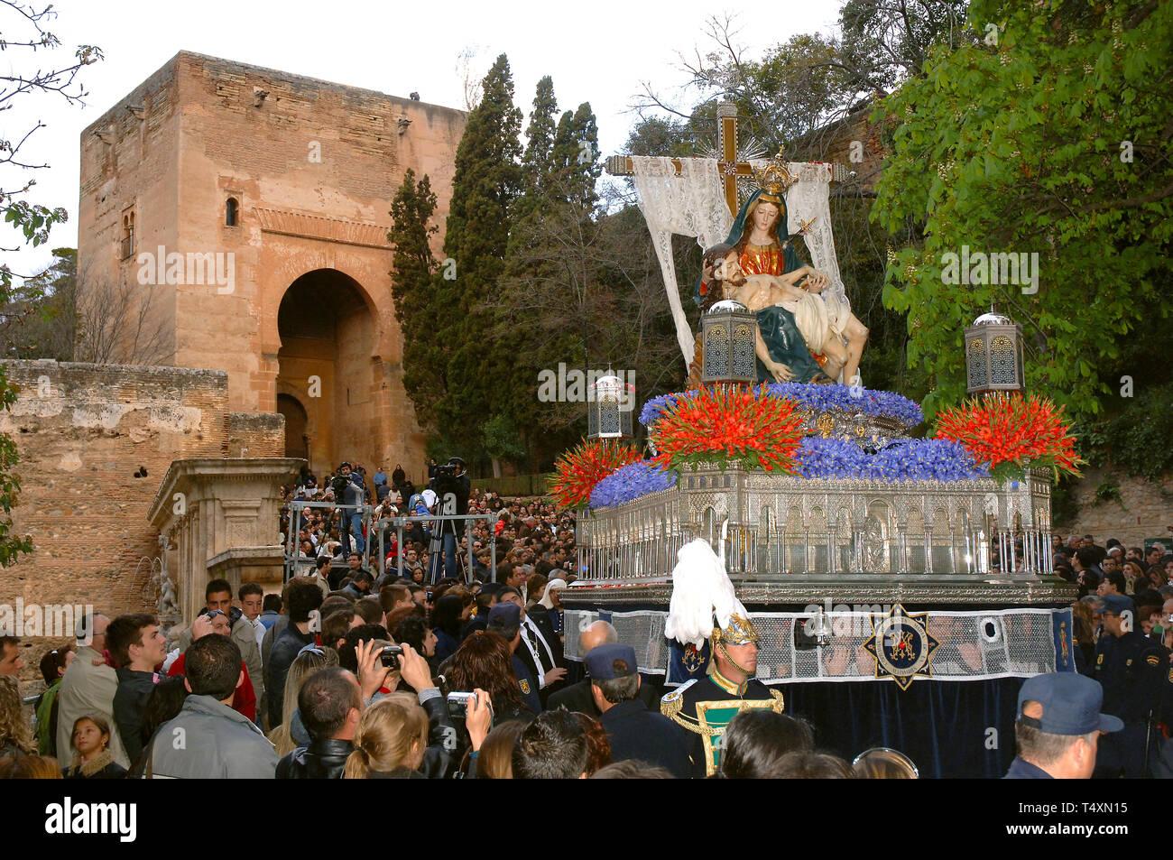 Holy Week. Brotherhood of La Alhambra ('paso'and Door of Justice ). Granada. Region of Andalusia. Spain. Europe - Stock Image