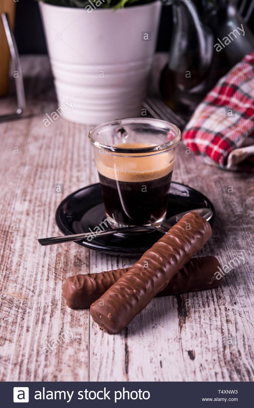 espresso with cookies - Stock Image