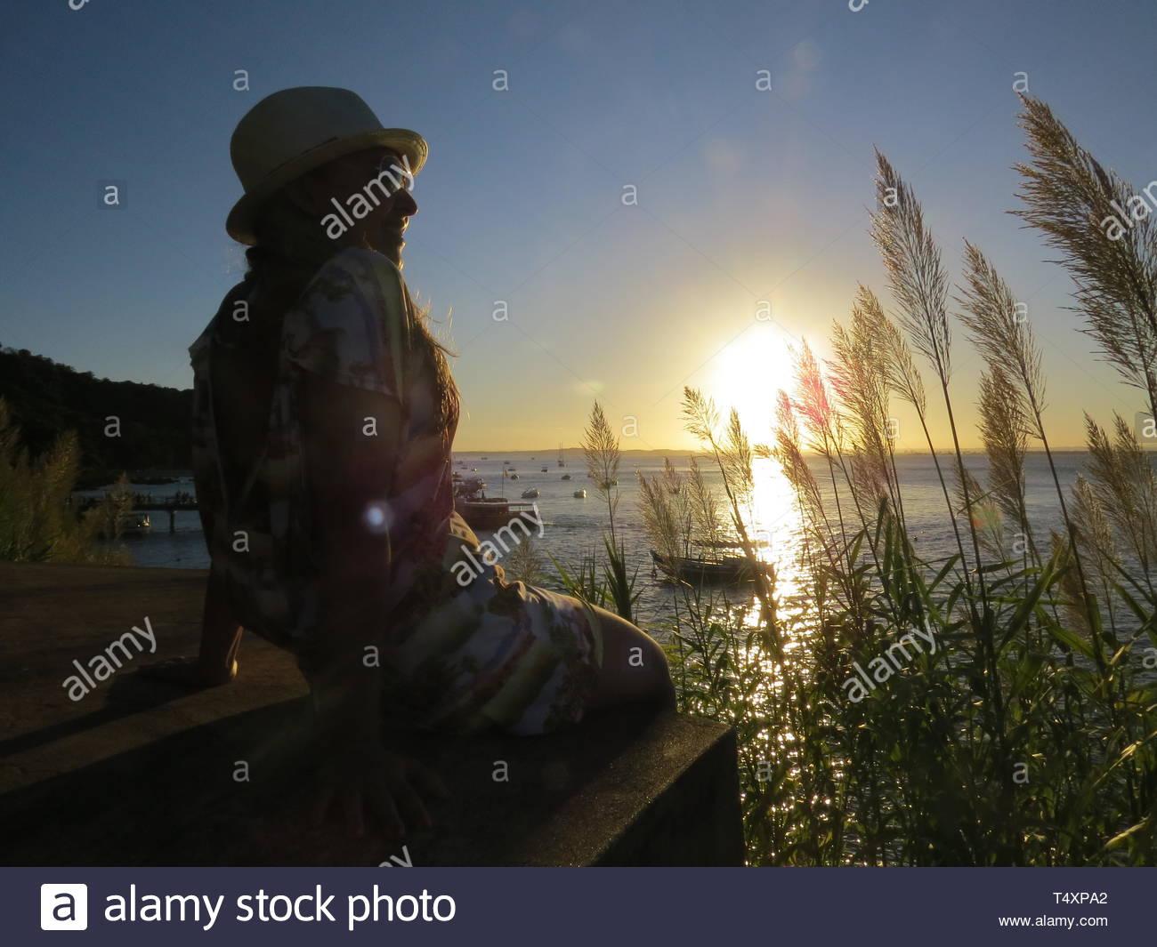 girl near water - Stock Image