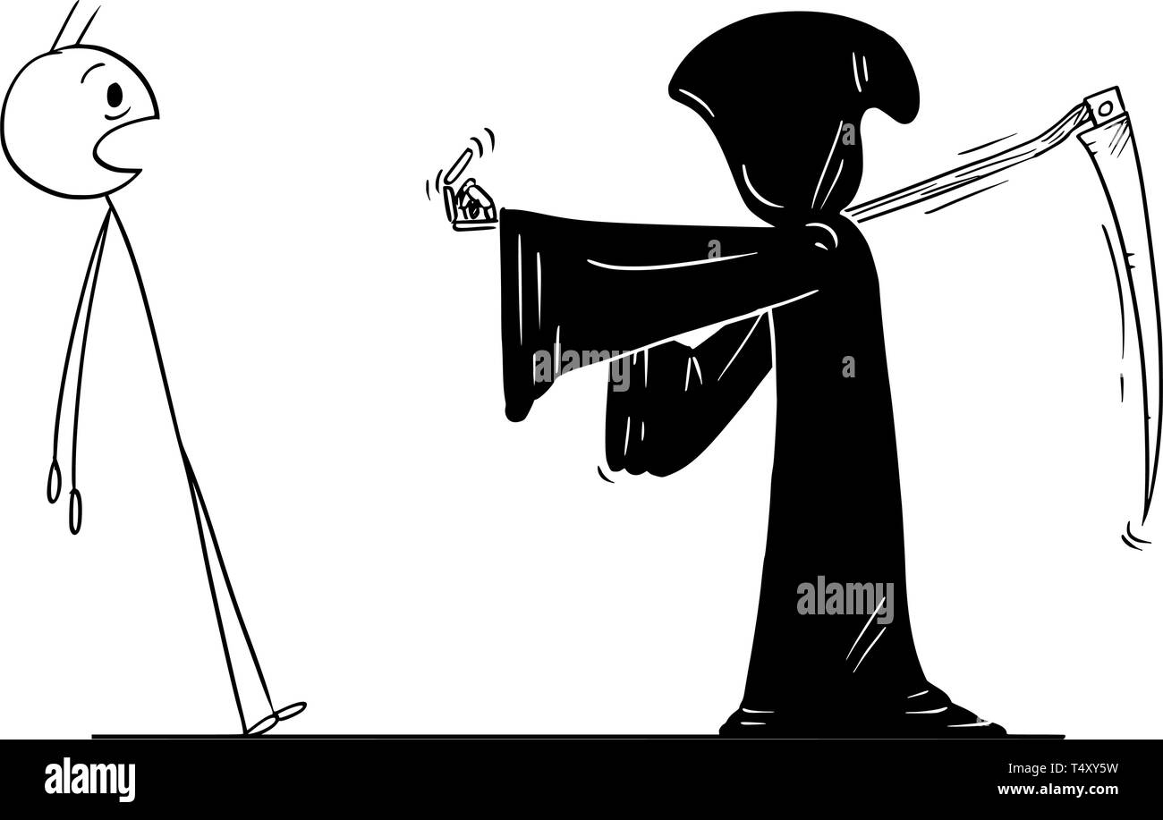 Cartoon stick figure drawing conceptual illustration of man ordered by grim reaper with scythe and in black hood to follow him. Metaphor of death. - Stock Vector