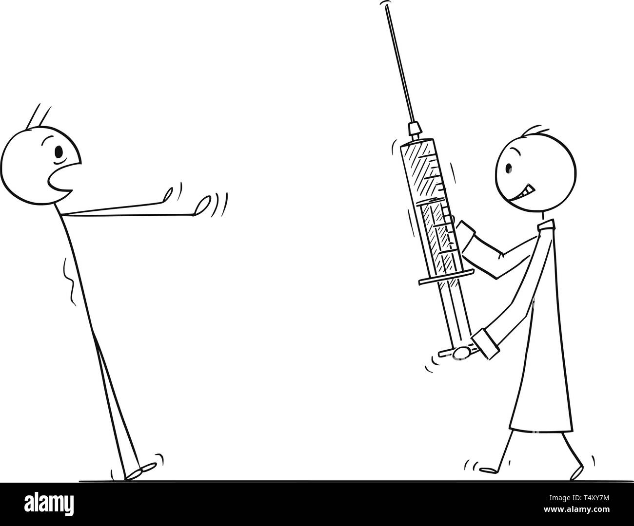 Cartoon stick figure drawing conceptual illustration of man stunned in panic looking at doctor coming with big injection or syringe. Concept of healthcare or vaccination. - Stock Image