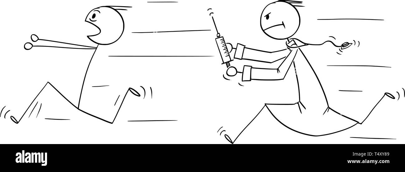 Cartoon stick figure drawing conceptual illustration of man running in panic chased by doctor with injection syringe. Concept of healthcare and vaccination. - Stock Image
