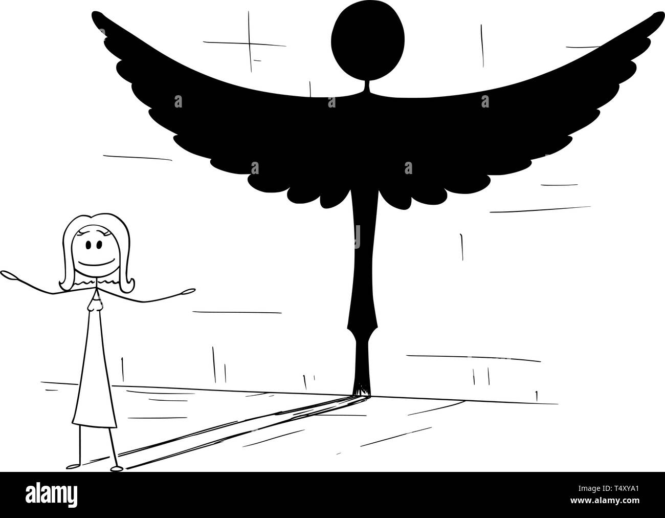 Cartoon stick figure drawing conceptual illustration of good woman or person casting shadow in shape of angel. Metaphor or true personality hidden inside. - Stock Vector