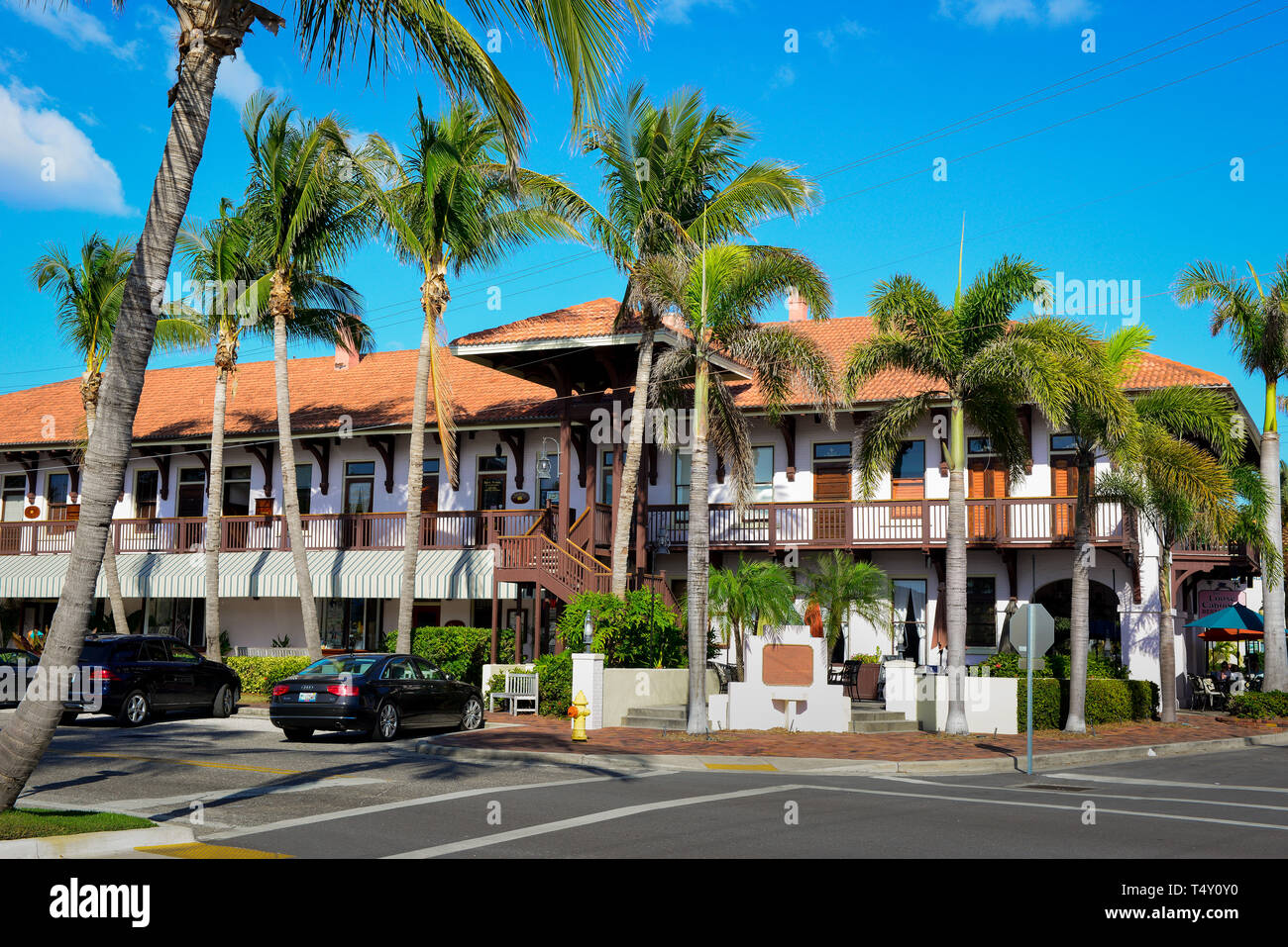 A beautiful, historic building that was once the depot for the railroad now houses shops and offices in downtown Boca Grande, FL, on Gasparilla Island Stock Photo