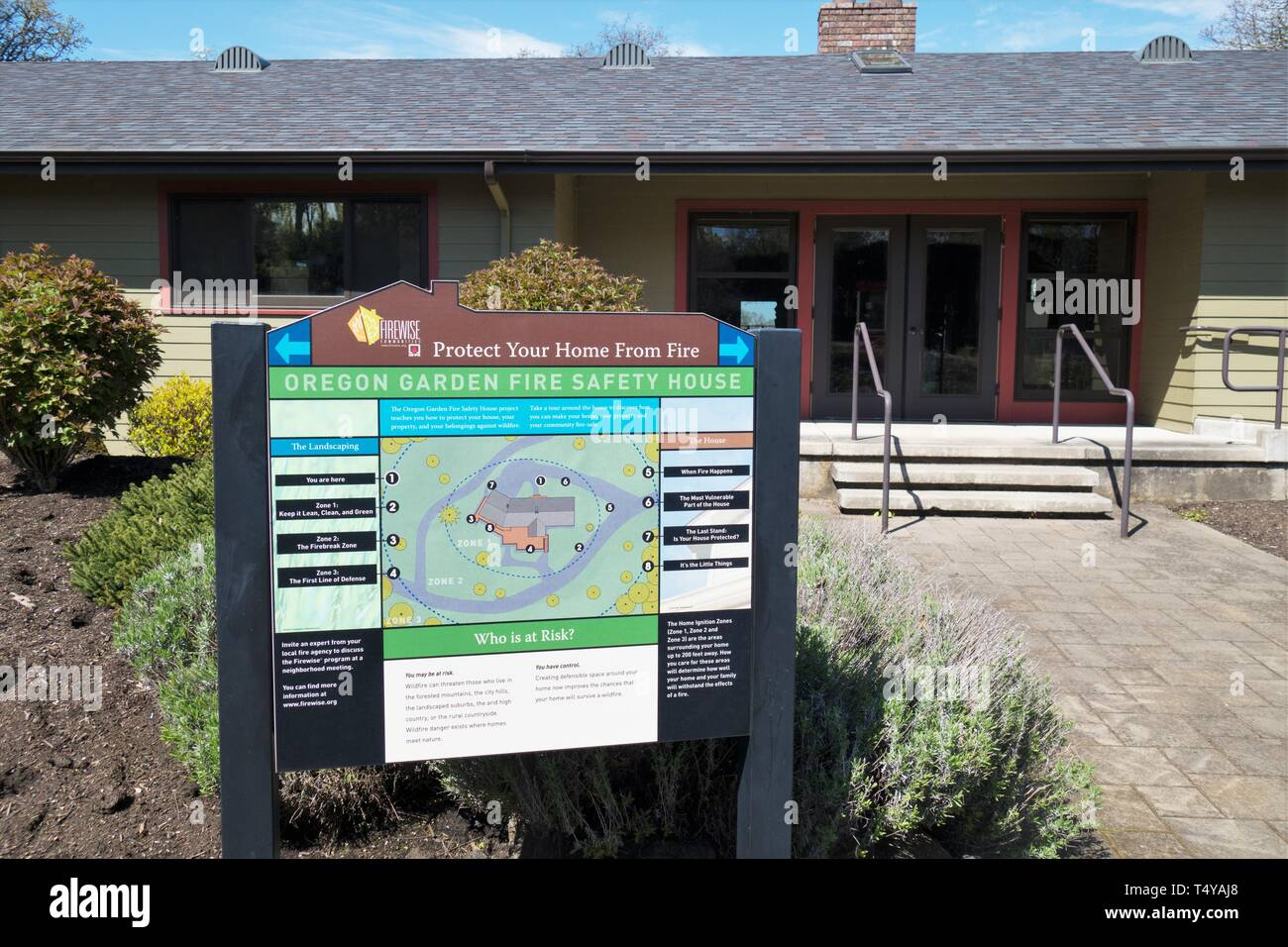 The Fire Safety House, at the Oregon Garden in Silverton, Oregon, USA. - Stock Image