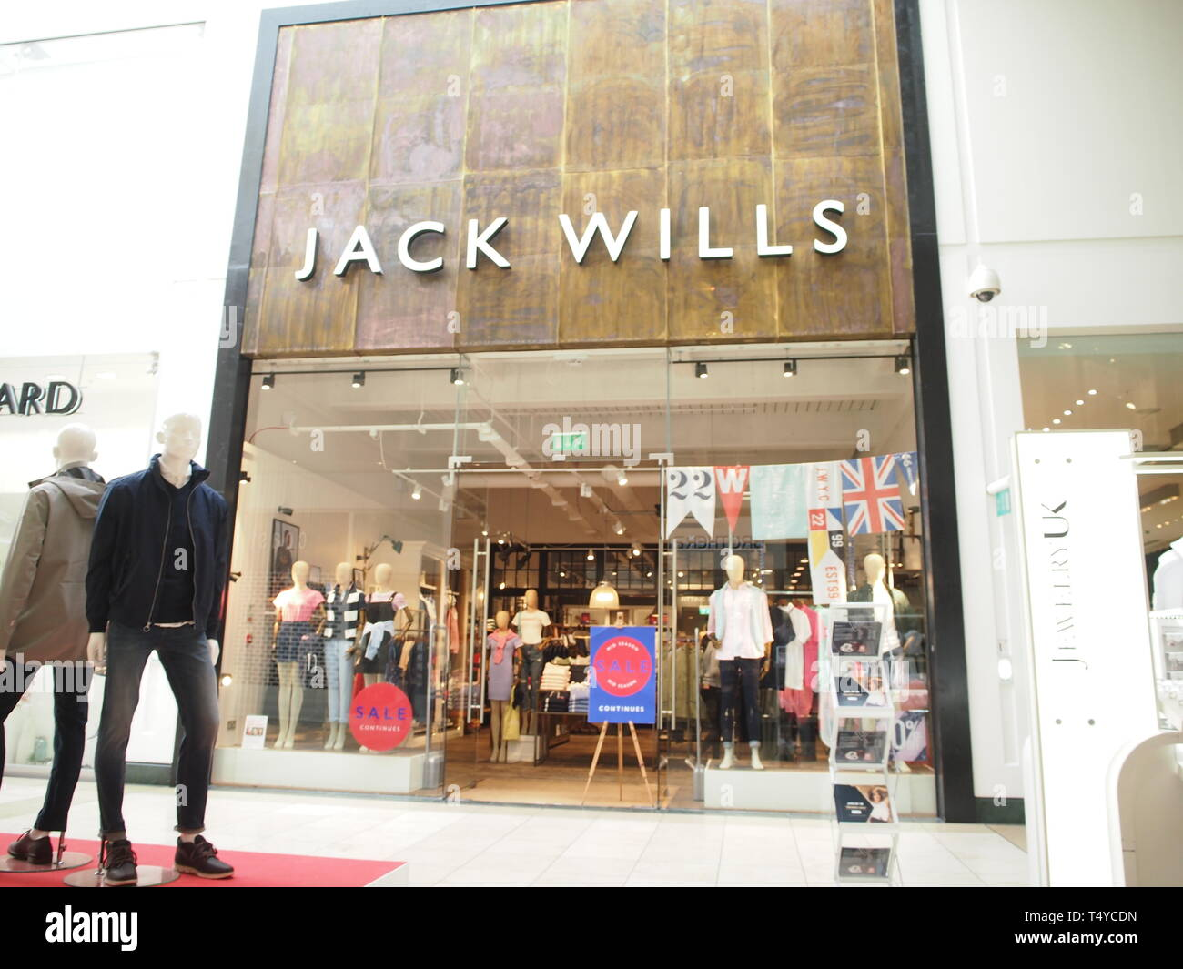 Jack Wills store, Intu Shopping Centre in Milton Keynes - Stock Image