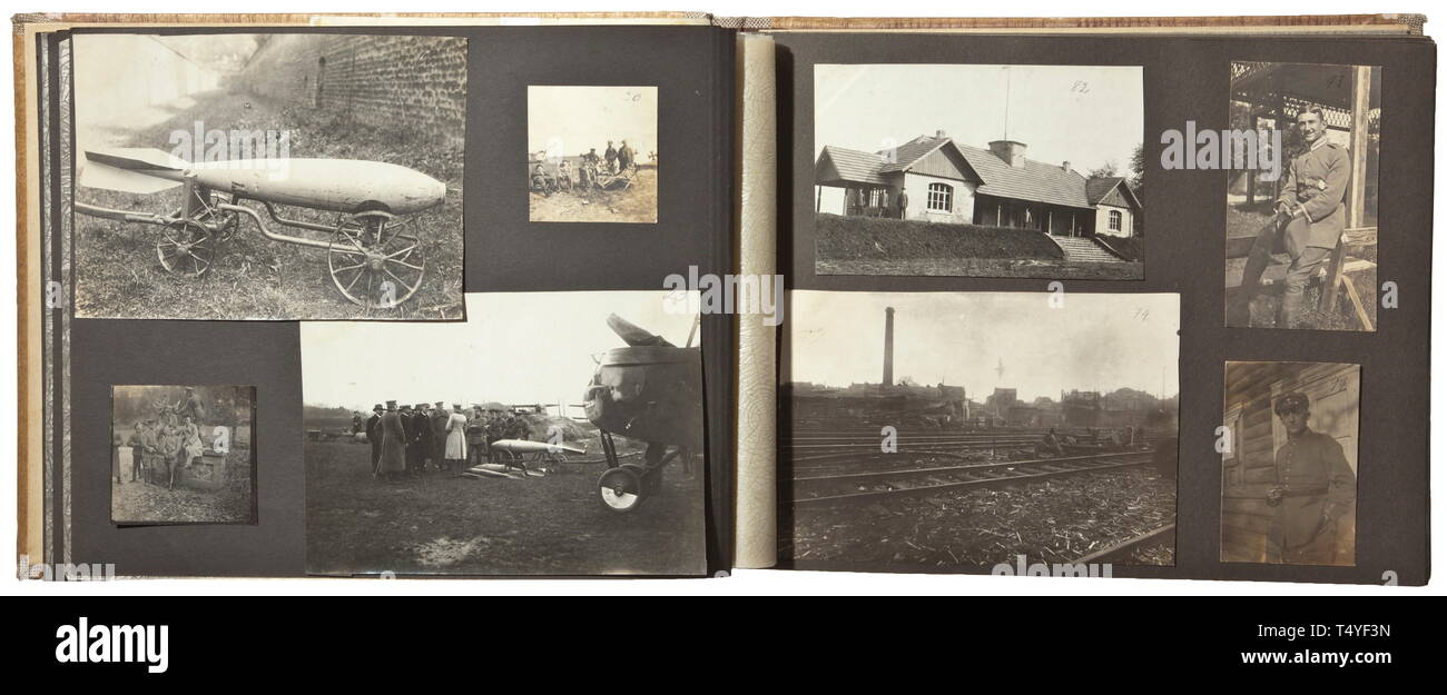 A photo album of the Bomber Wing of the Supreme Army Command 2. Album of 'Kagohl 2' resp. Bomber Squadron 8 with ca. 242 top-quality images of flying troops. Biplanes of many types, aerial images of positions and villages on the Western front, group photos with decorations, bombers with death's head ornamentation, emblems and other markings, some with designations. Good technical and flight photos. historic, historical, troop, troops, armed forces, military, militaria, army, wing, group, air force, air forces, 20th century, Additional-Rights-Clearance-Info-Not-Available - Stock Image