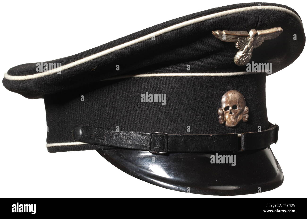 "A visor cap for enlisted men and NCO`s of the Allgemeine SS. Fine black cloth with white piping, visor with ink stamping ""SS RZM"", regulation black patent leather chin strap, early cupal insignia. The interior with the typical brown waterproof inner liner, maker's label with gold-stamped runes, brown sweat band with RZM-tag. Light signs of use. historic, historical, 20th century, 1930s, 1940s, Waffen-SS, armed division of the SS, armed service, armed services, NS, National Socialism, Nazism, Third Reich, German Reich, Germany, military, militaria, utensil, piece of equipmen, Editorial-Use-Only Stock Photo"