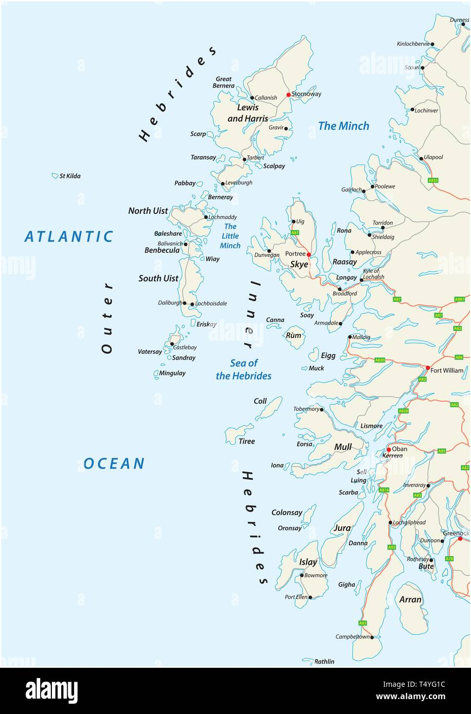 vector road map of scottish archipelago hebrides at the north west coast of scotland - Stock Vector