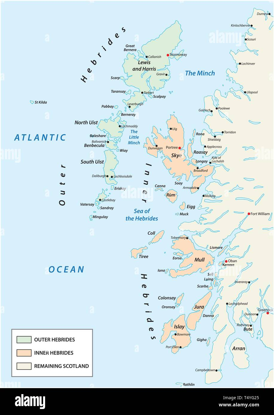 vector map of scottish archipelago hebrides at the north west coast of scotland - Stock Vector