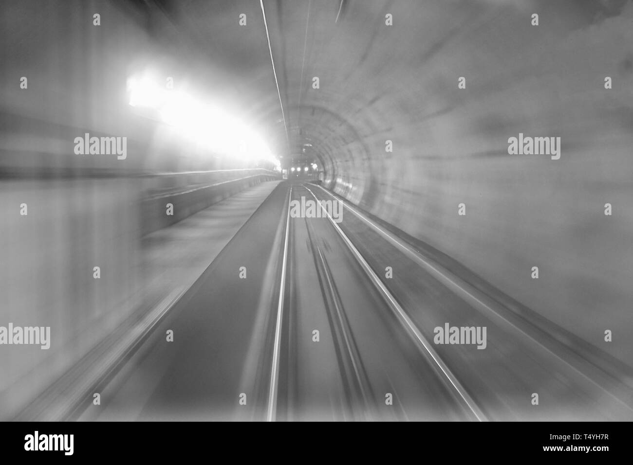 Traveling on underground line 5 called Lilla line in Milan, Lombardy, Italy. - Stock Image