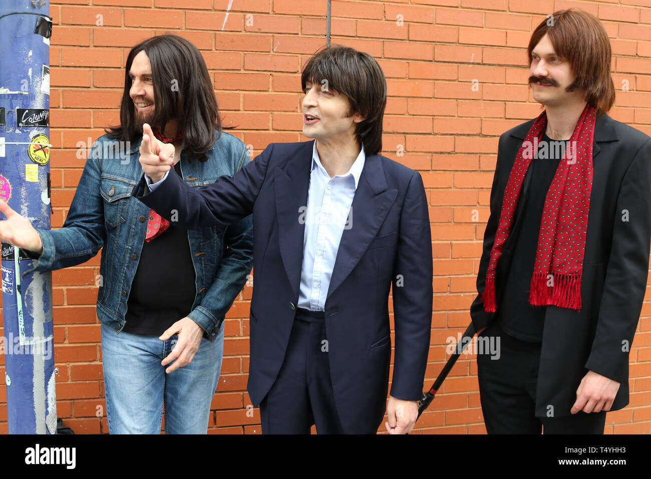 Liverpool, uk CAST OF LET IT BE AT ABBEY ROAD PHOTOSHOOT  CREDIT IAN FAIRBROTHER/ALAMY STOCK PHOTOS - Stock Image