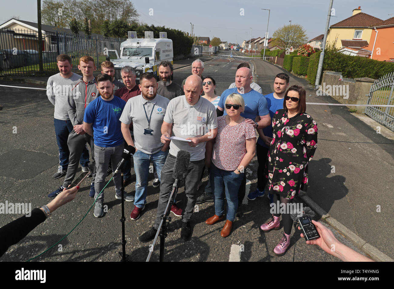 """George McGowan speaks on behalf of members of the community at the scene in Londonderry, Northern Ireland, where 29-year-old journalist Lyra McKee was shot and killed when guns were fired and petrol bombs were thrown in what police are treating as a """"terrorist incident"""". Stock Photo"""