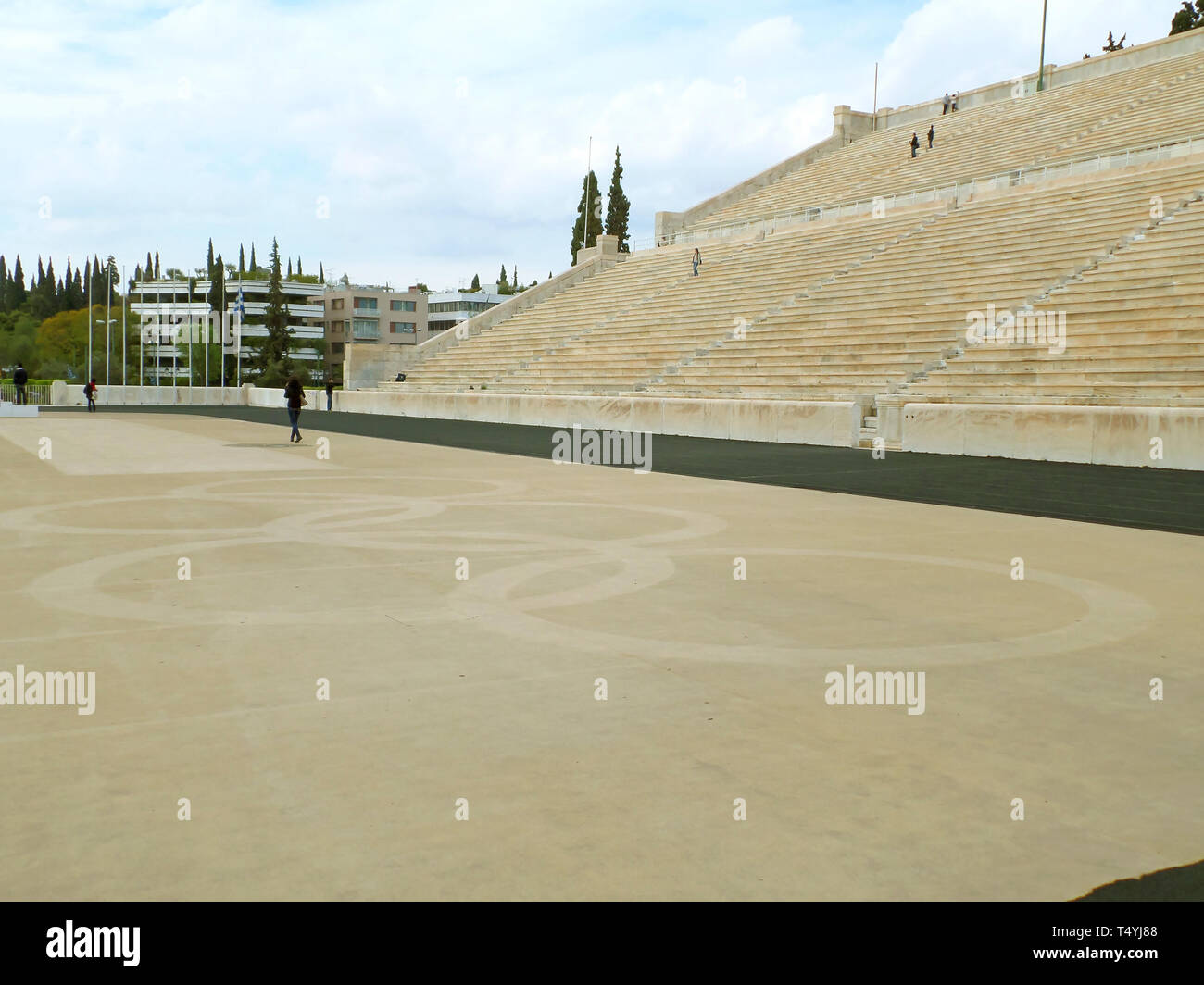 Panathenaic Stadium, Archaeological site in Athens of Greece, where the Olympic flame handover ceremony to the host nation takes place - Stock Image