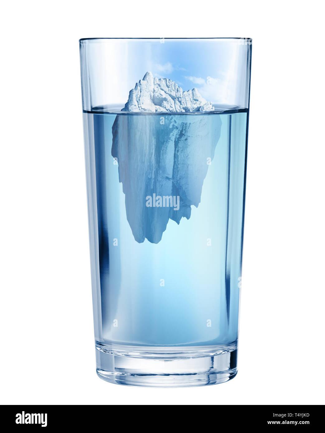 Iceberg in ocean as hidden threat concept - Stock Image