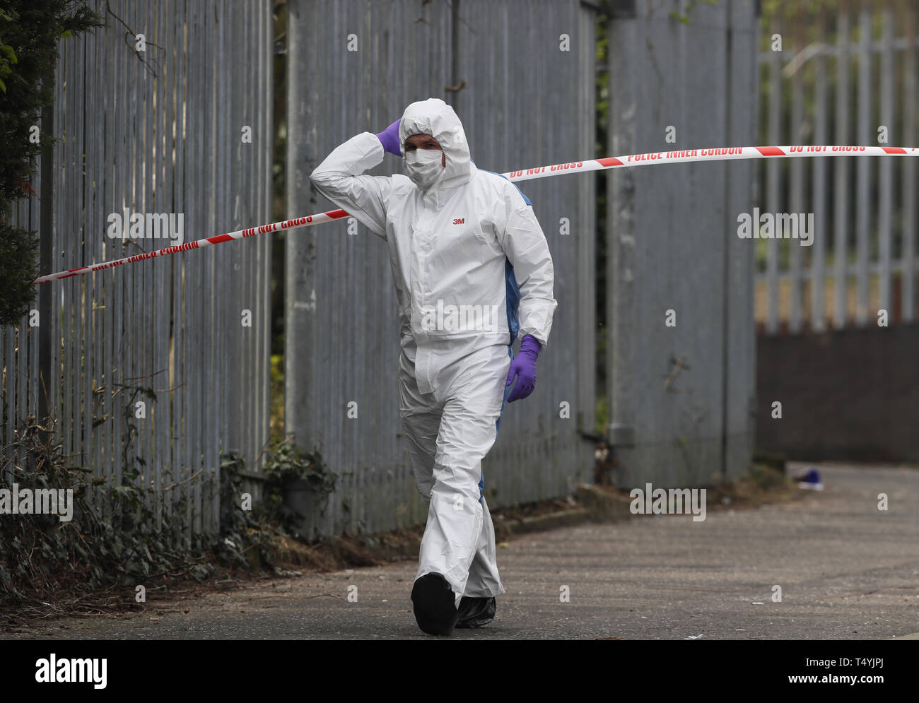 "The scene in Londonderry, Northern Ireland, following the death of 29-year-old journalist Lyra McKee who was shot and killed when guns were fired and petrol bombs were thrown in what police are treating as a ""terrorist incident"". Stock Photo"