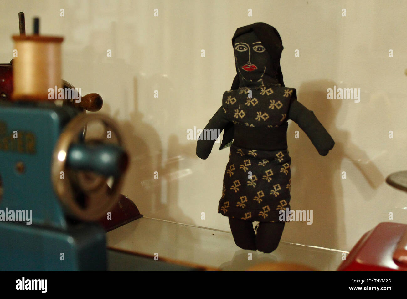Stitched fabric doll at a local factory museum in Merida, Venezuela. - Stock Image