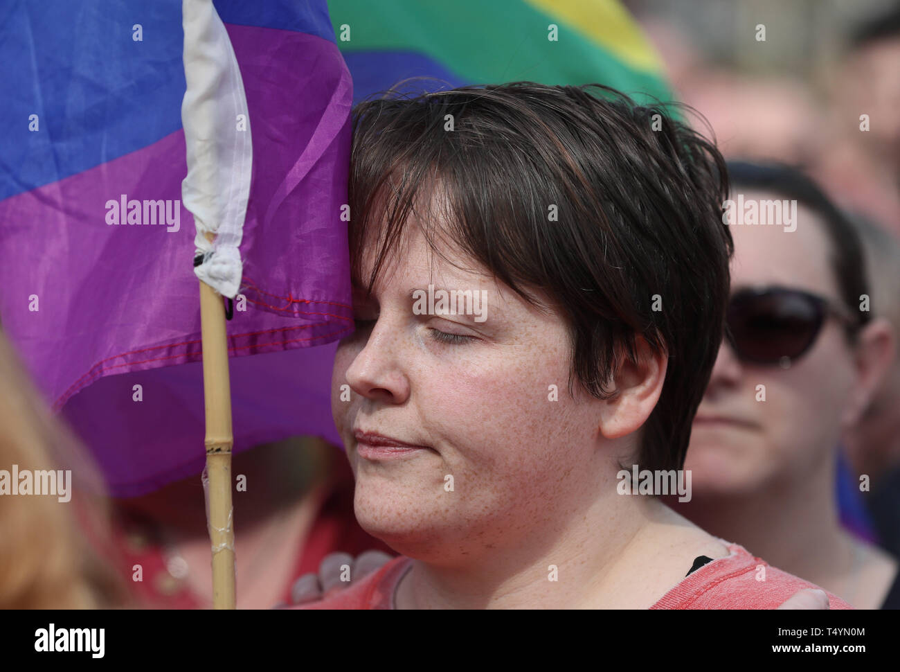 """Sara, the partner of 29-year-old journalist Lyra McKee at a rally in Londonderry, Northern Ireland, following her death last night after guns were fired and petrol bombs were thrown in what police are treating as a """"terrorist incident"""". Stock Photo"""