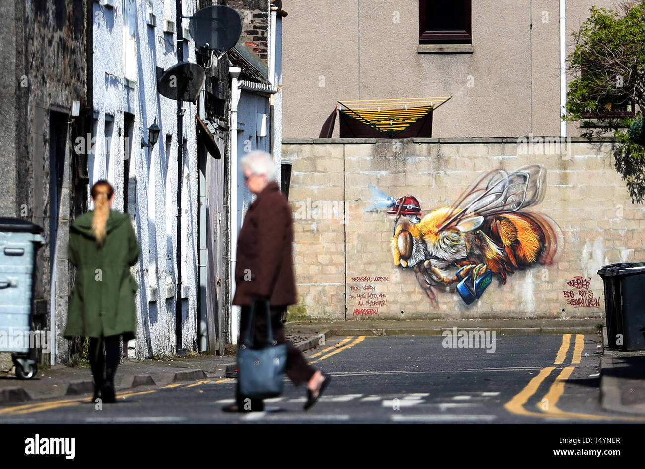 A piece of street art by Andrea Castignino that features in this year's Nuart Aberdeen Festival. Stock Photo