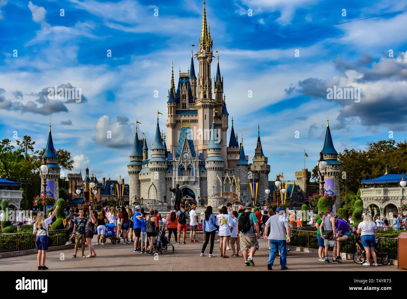 Orlando, Florida  April 02, 2019 Panoramic view of Cinderella's