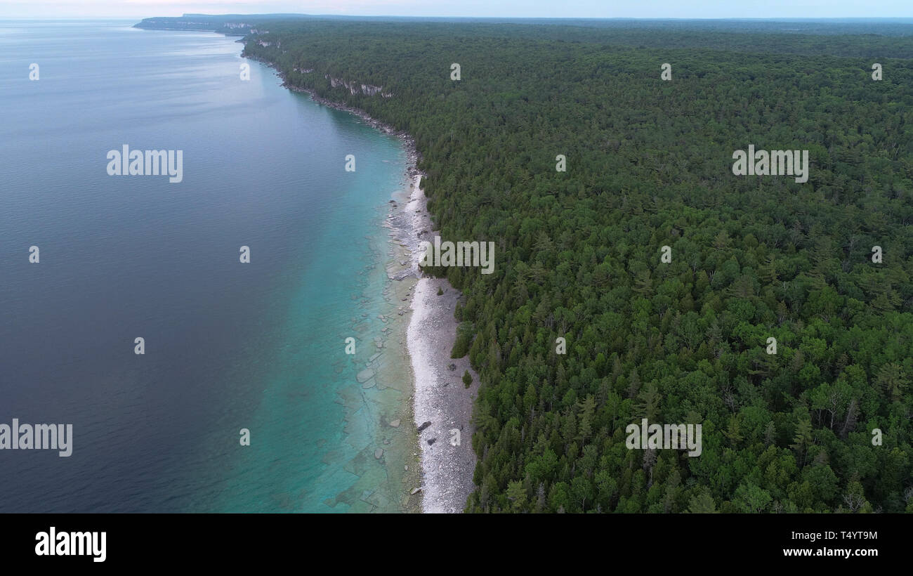 Beautiful Bruce Peninsula Park in Canada drone photography - Stock Image