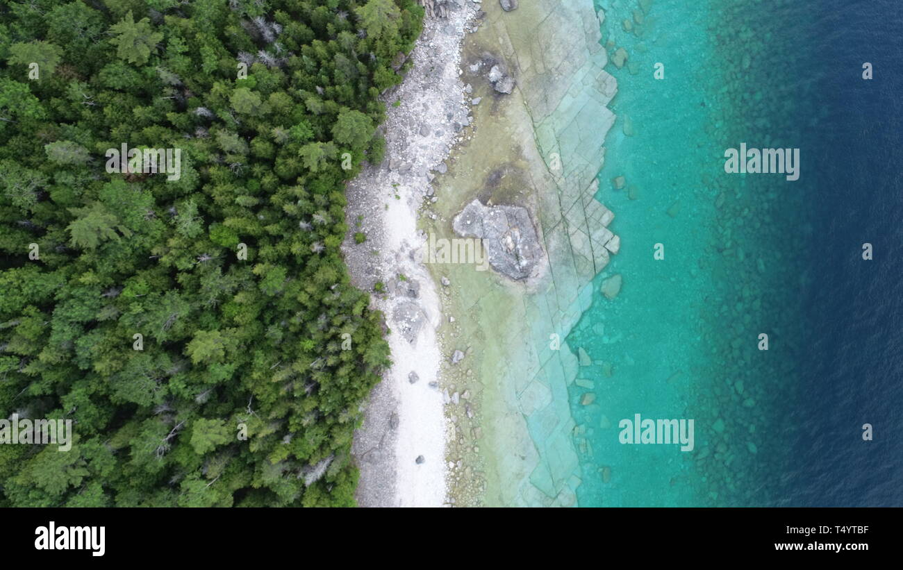 Beautiful Bruce Peninsula in Canada from the Sky (Prime images) - Stock Image