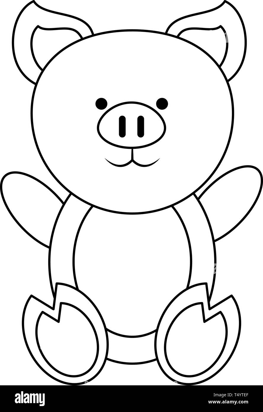 Pig Cute Animal In Black And White Stock Vector Image Art Alamy