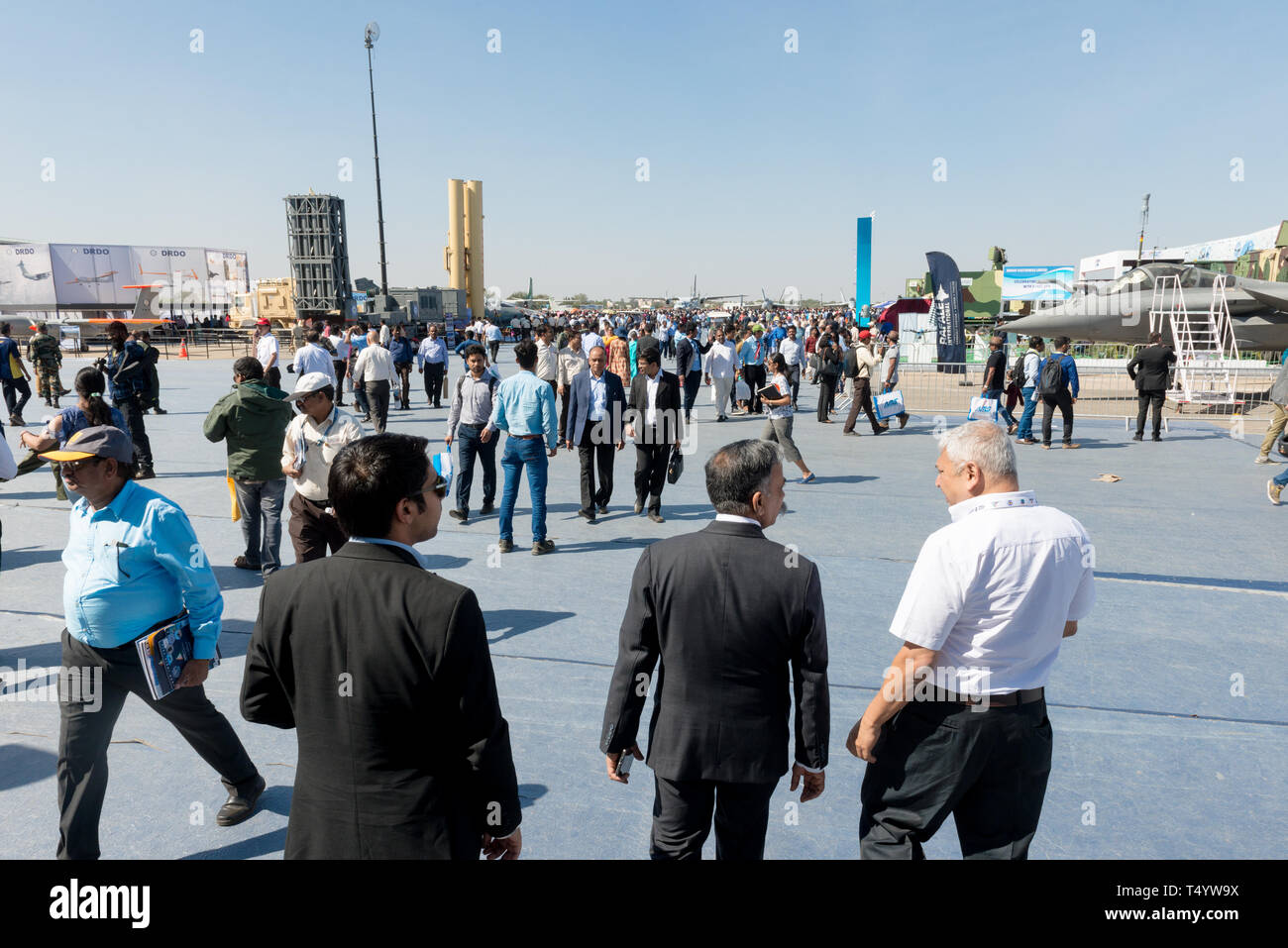 Bengaluru, India - February 22, 2019: Visitors at the Aero India 2019. Aero India is a biennial air show and aviation exhibition. - Stock Image