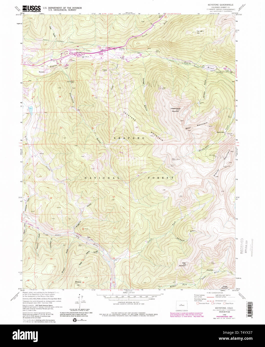USGS TOPO Map Colorado CO Keystone 233459 1958 24000 Restoration ...