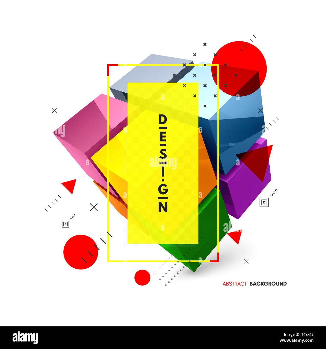 Cube. Design element for business or construction concept. 3d vector illustration. Stock Vector