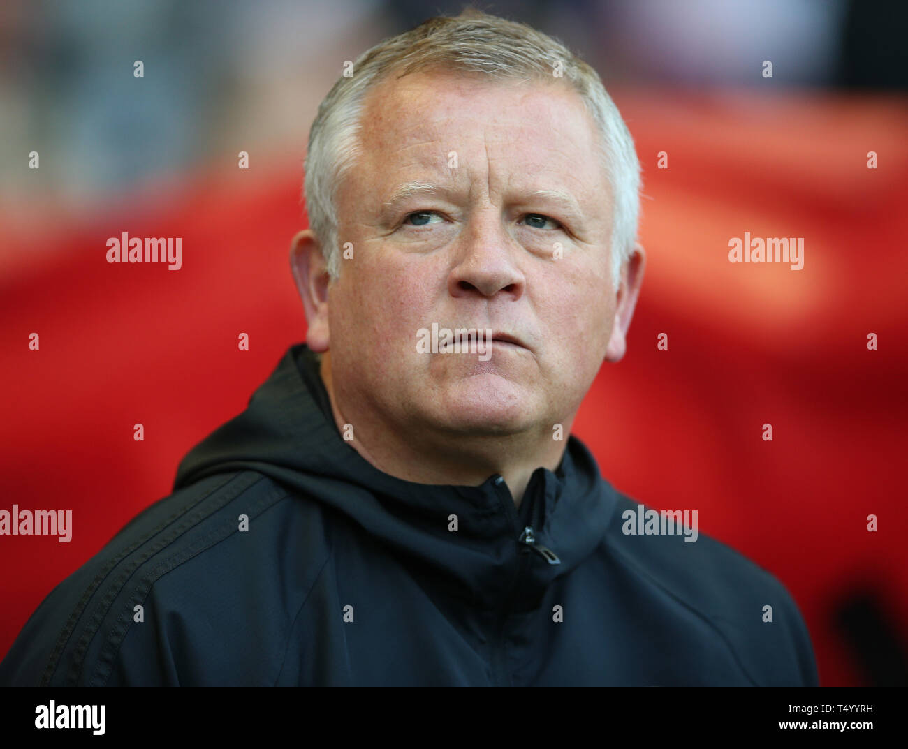 Sheffield United manager Chris Wilder during the Sky Bet Championship match at Bramall Lane, Sheffield. Stock Photo