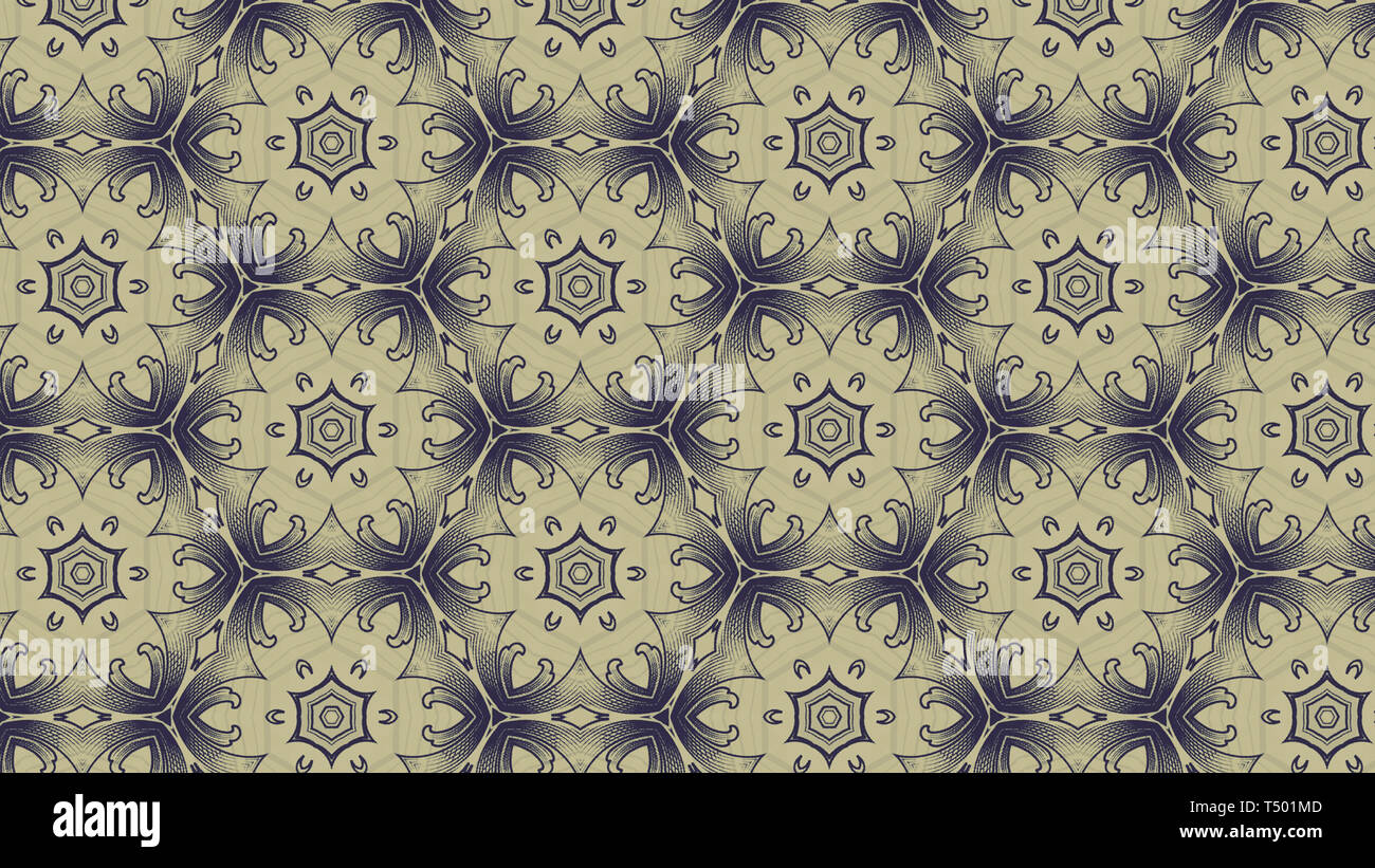 Blue And Beige Vintage Floral Wallpaper Background Stock Photo