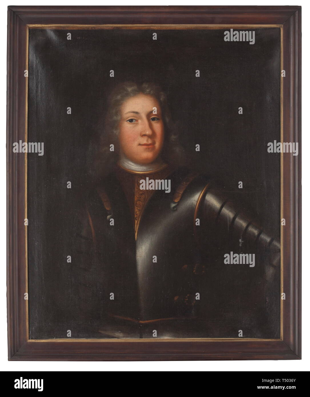 A German Baroque portrait of an aristocrat, end of the 17th century. Oil on canvas. Portrait of a male with periwig and partly gilt armour. In a contemporary profiled frame. Stretcher frame with slight worm damage. Dimensions of the picture 72 x 87.5 cm, dimensions of the frame 81 x 98 cm. historic, historical, fine arts, art, 17th century, Additional-Rights-Clearance-Info-Not-Available - Stock Image
