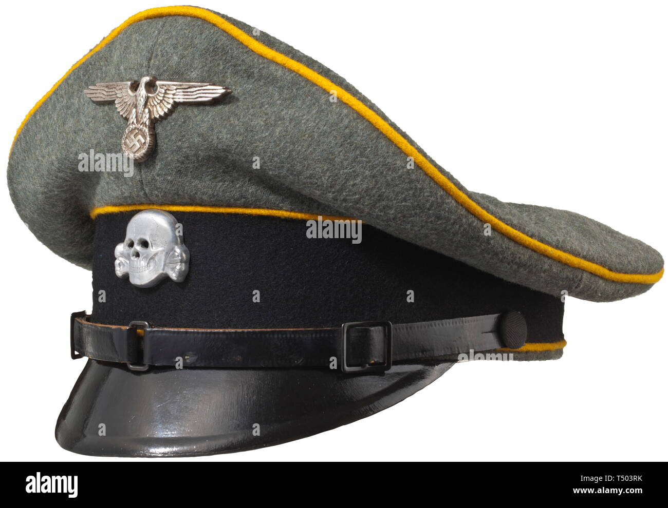 """A visor cap for enlisted men/NCOs of cavalry or reconnaissance units of field-grey wool material with black cap band and golden yellow piping, three-piece black lacquered chin strap and civilian buttons. Yellow cotton liner with size stamping """"57"""" and leather sweat band. Modern insignia. Unissued, colour-fresh. historic, historical, 20th century, 1930s, 1940s, Waffen-SS, armed division of the SS, armed service, armed services, NS, National Socialism, Nazism, Third Reich, German Reich, Germany, military, militaria, utensil, piece of equipment, utensils, object, objects, stil, Editorial-Use-Only Stock Photo"""