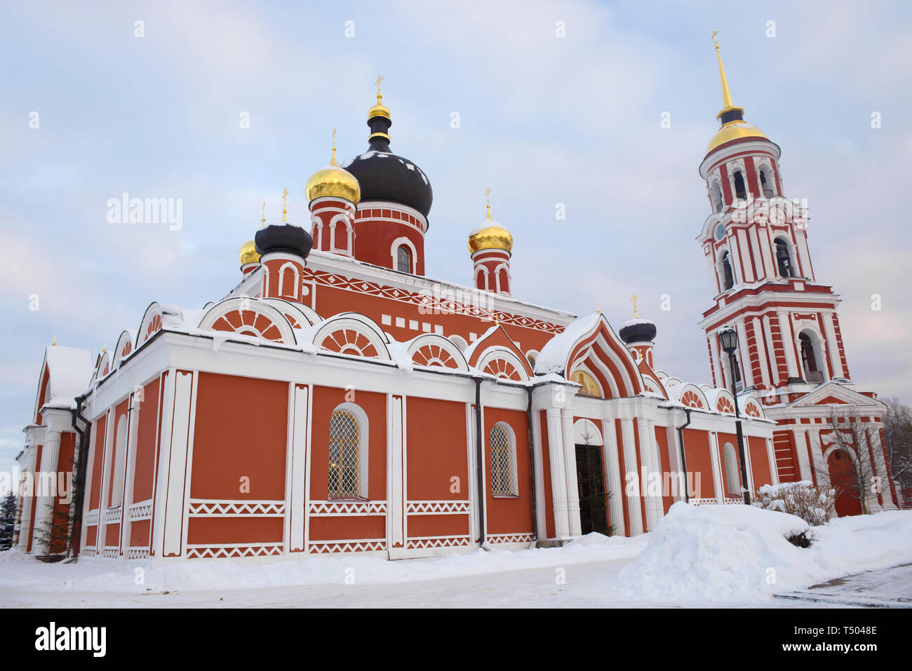 Resurrection Cathedral close up at January twilight. Staraya Russa, Russia - Stock Image