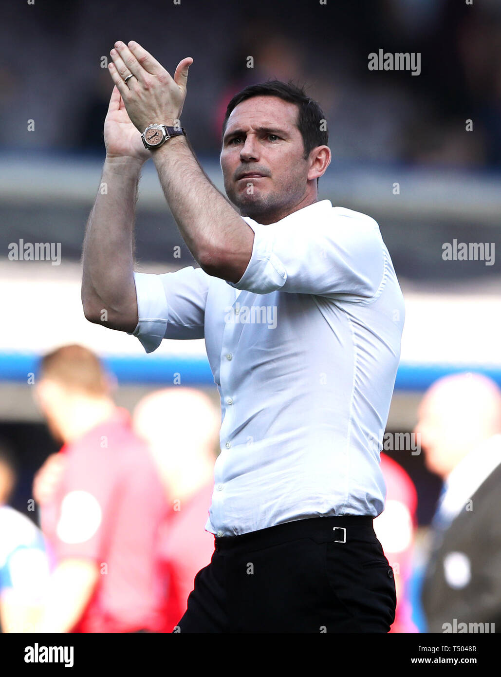 Derby County manager Frank Lampard applauds the fans after the Sky Bet Championship match at St Andrew's Trillion Trophy Stadium, Birmingham. Stock Photo