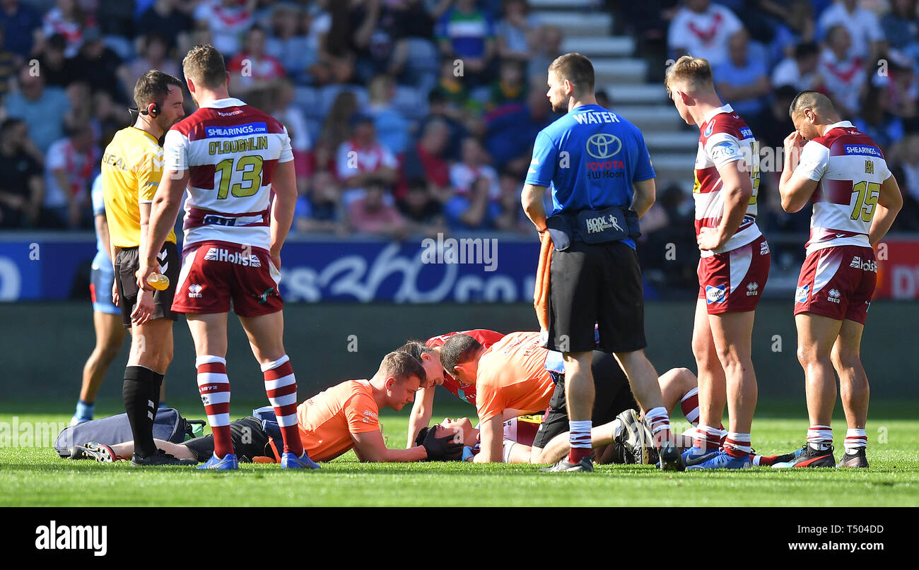 Wigan Warriors' Jake Shorrocks lies injured during the Betfred Super League match at the DW Stadium, Wigan. Stock Photo