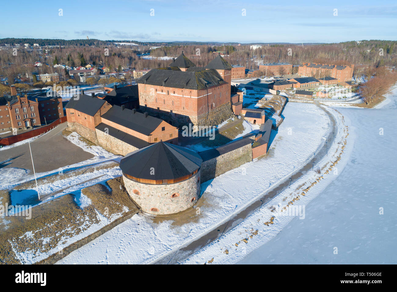 The Hameenlinna Fortress on a sunny March day in close up. Finland Stock Photo