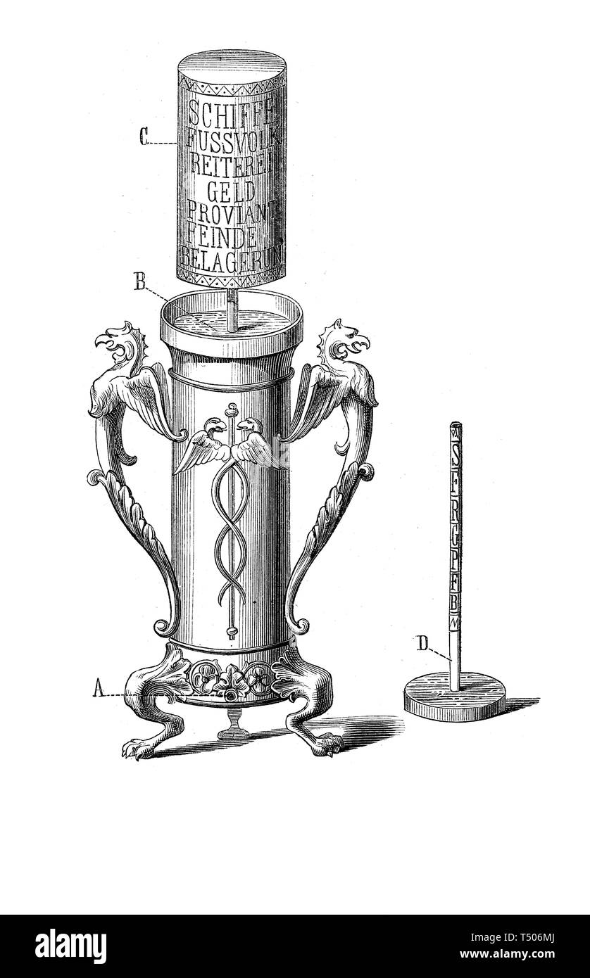 The earliest telegraph was developed in the 4th-century BC in Greece and described by Aeneas Tacticus writer. It employed levels of water as code in the sending and receiver devices with a hydraulic telegraphic method. The semaphoric information was received visually which limited its use to line-of-sight distances in good visibility weather conditions. - Stock Image